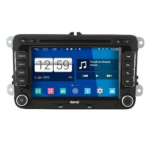 Rupse - Android 4.4.4 Autoradio DVD GPS Système de Navigation Stéréo Lecteur DVD Voiture avec 7 pouces Écran Tactile Numérique Haute Définition WIFI Bluetooth pour Volkswagen Série
