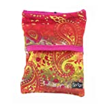 Sprigs Unisex Banjees 2 Pocket Wrist Wallet for Travel, Running, Hiking, Yellow Paisley/Pink, One Size Fits Most