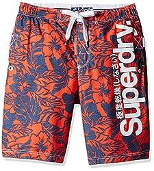 Superdry Men's Synthetic Shorts (5054265254291_M30MP021F4_Large_Havana Orange Banana Leaf)