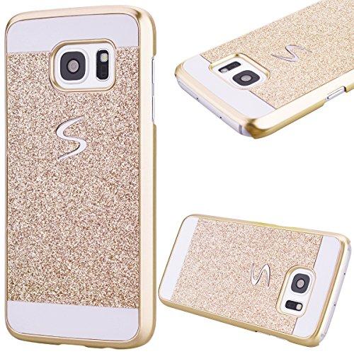 GrandEver Custodia Rigida per Samsung Galaxy S7 Edge, UltraSlim Dura PC Protettiva Cover Bumper, Glitter Bling Hard Protettivo Durable Case con Diamanti Back Case Copertura - Oro