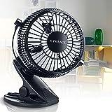 E-PRANCE®USB扇風機 卓上 USBファン クリップ型 風量2段階調節 360度角度調整 4枚羽根 ブラック