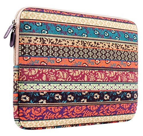 PLEMO Sleeve Case per Netbook / Custodia Borsa Involucro per Laptop / Notebook / Computer Portatile / MacBook / MacBook Air da 12-12.5 Pollici, Stile Bohemien Tessuto di Tela, Foresta Mistica