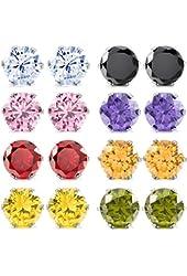 Multicolor 3~10 mm 16 PCS Stainless Steel Stud Earrings Royal King Crown Set ( 8 Pairs )