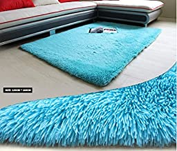 HUAHOO 120cm x 160cm Blue Area Carpet blue rug for kids teens baby room bathroom nursery Bedroom / Living Room / blue carpet squares