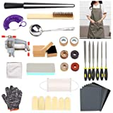 LAMPTOP 40Pcs Ring Making Tools Kits, Jewelry Ring Craft Kits Including Finger Sizing Measuring Gauge Tools,Ring Measuring Stick, Buffing Blocks, Vise and Sandpapers, DIY Art for Men/Women/Beginners