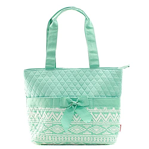 Aztec Print Fashion Design Quilted 3-Piece Diaper Bag W/Baby Changing Pad & Cosmetic Case Color: Mint