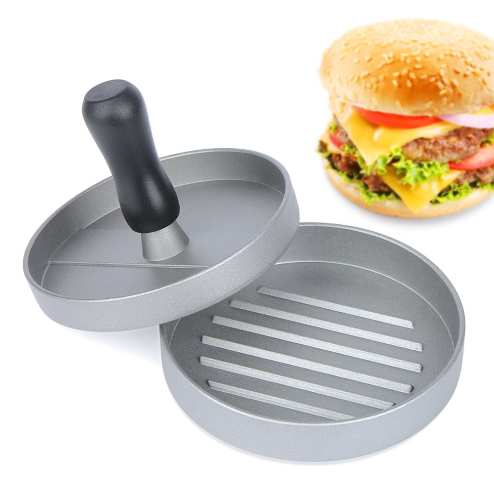 E-PRANCE Aluminum Burger Press Hamburger Maker Non Stick Patty Mold Ideal for BBQ