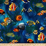 Island Sanctuary Sea Tropical Fish Cobalt Fabric