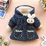2013 Baby-Kind-Kleinkind-Tupfen Kinderkleidung Mantel Outwear Jacke Schneeanzug (Marine, L für  1-2 Jahre)