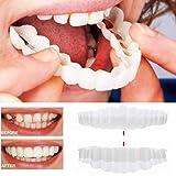 Inverlee 2Pcs Comfort Fit Flex Cosmetic Teeth Denture Teeth Top Cosmetic Veneer (1Pc Top+1Pc Bottom+2pc Adhesive) (Color: 1pc Top+1pc Bottom+2pc Adhesive)