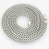 """Gold-Chains Mens 10K white gold franco cuban miami figaro bullet rope fancy chain gc34 Length - 20"""" Width - 4mm"""