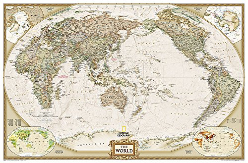 World Executive, Pacific Centered, Enlarged & Tubed (National Geographic Reference Map)