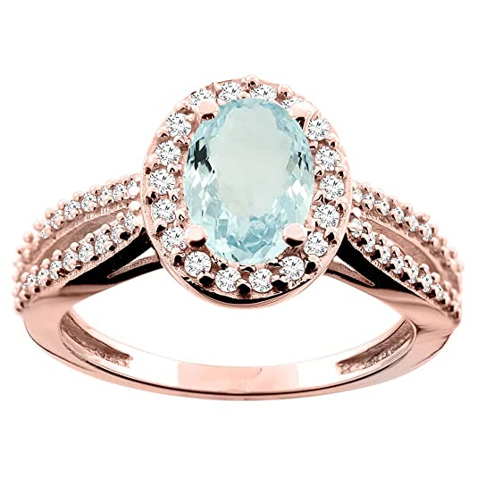14ct Rose Gold Natural Aquamarine Ring Oval 8x6mm Diamond Accent 7/16 inch wide, size L