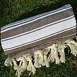 Brown Turkish Towel Peshtemal - 100% Natural Dyed Cotton - for Beach Spa Bath Swimming Pool Hammam Sauna Yoga Pilates Fitness Gym Picnic Blanket (Dandelion Textile)