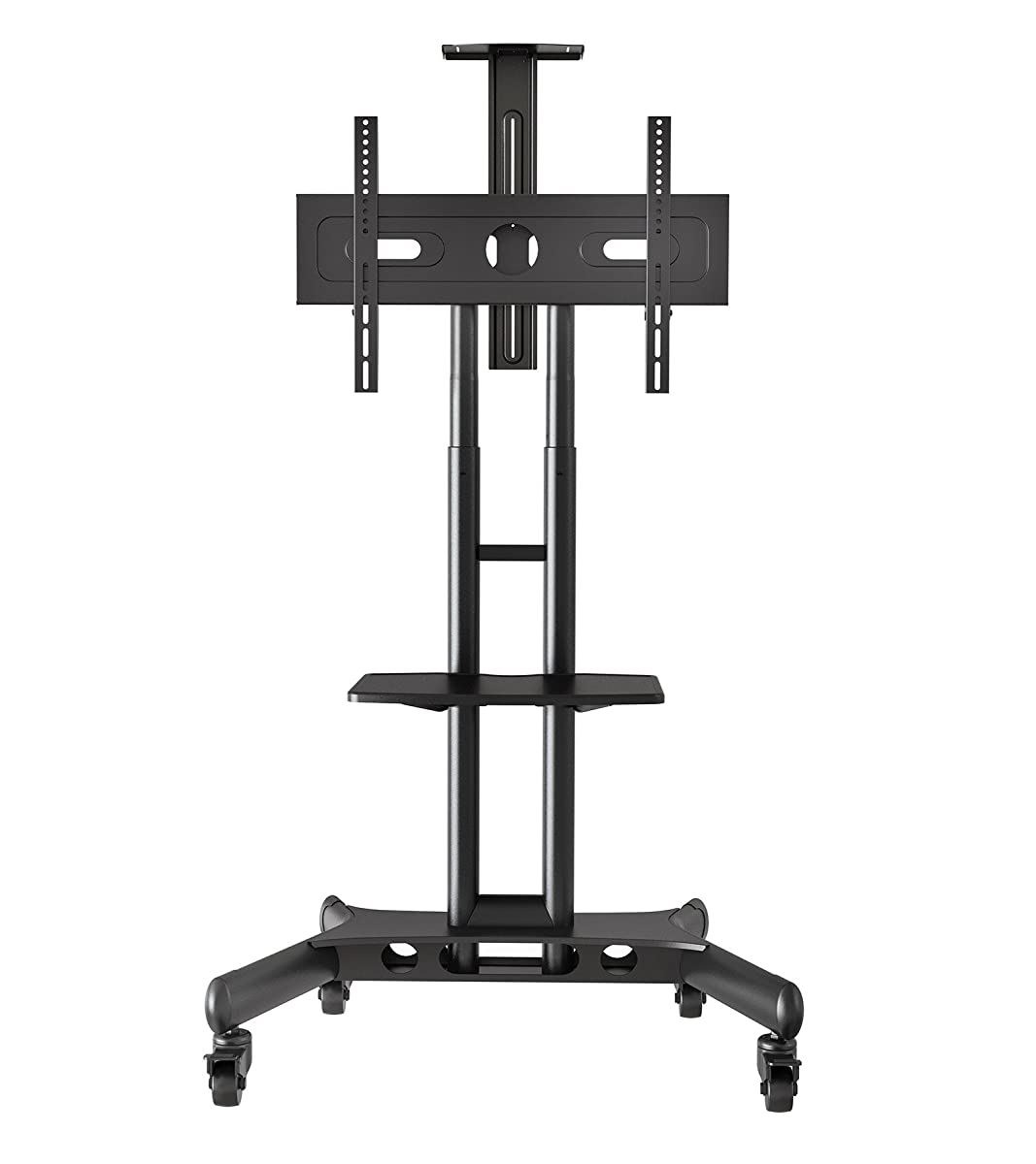 Mount Factory Rolling TV Cart Mobile TV Stand for 40-65 inch Flat Screen, LED, LCD, OLED, Plasma, Curved TVs - Universal Mount with Wheels
