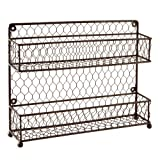 MyGift® Rustic Dual Tier Wire Spice Rack Jars Storage Organizer (Kitchen Countertop Or Wall Mount)