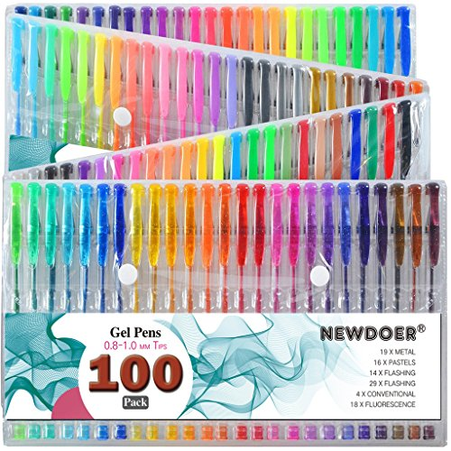 newdoer-100-colors-gel-pens-for-adult-colouring-booksdrawand-write-best-gift-ideal-for-christmas