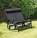GARDEN PATIO GLIDER CHAIR SEAT RECLINING SWING TWIN OUTDOOR RELAXER TEXTILENE (Black)