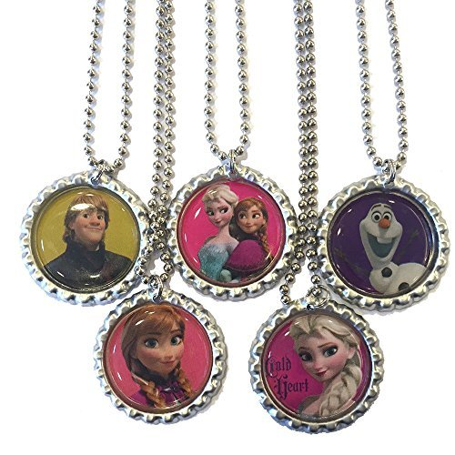 5 Frozen Bottlecap Necklaces - Party Favors