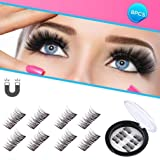 Beatife Magnetic False Eyelashes, 3D Black Dual Magnets Ultra Thin Soft, Glamorous, Natural Look, No Glue, Handmade Reusable Fake Lashes Extension Eyelashes (Black) 2 Pair/8Pcs (Color: Black3, Tamaño: Medium)