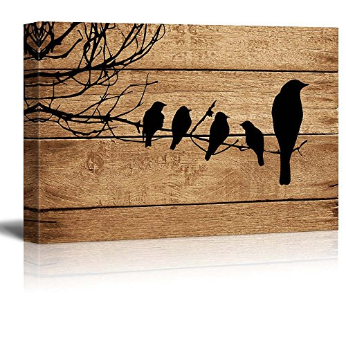 Wall26 - Canvas Prints Wall Art - Artistic Birds on Branch on Vintage Wood Background - 16