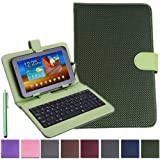 "HDE Universal 7"" Diamond Stitch Tablet Keyboard Hard Case Cover w/ Matching Stylus (Green)"