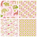 Pink Kids Fabric Baby Fabric 4 Fat Quarter Fabric Bundle by Blend - 100% Cotton Pink White Animal Fabric Butterfly Fabric