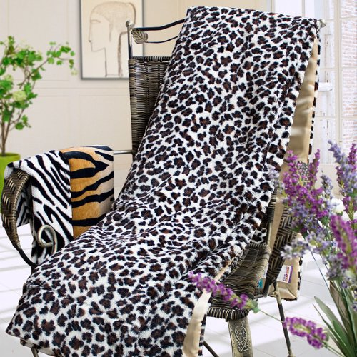 Blancho Bedding - [Leopard Brown] Micro Mink Fur Throw Blanket w/ 14.5 OZ filling (50 by 70 inches)