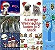 """Weihnachtskarten-Set lustig (12 Karten) mit Katzen, Eulen und M�psen: """"LUSTIGE WEIHNACHTEN"""" - witzige und originelle Grusskarten zu Weihnachten mit Tieren"""