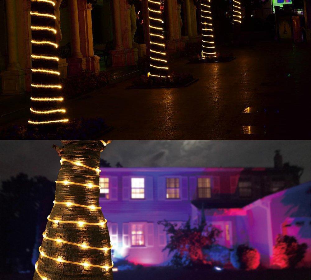 LED Solar Rope Lights,LTE 33ft 100 LED String Lights with Light Sensor, Daylight White,Waterproof Solar Tube Light for Halloween,Gardens,Lawn,Patio