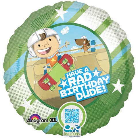 18 Inch Skateboarder Birthday - QR Code Balloon