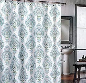 Cynthia Rowley Teal Gray And Green Medallion Cotton Shower Curtain Home Kitchen