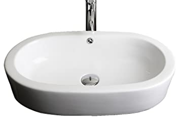 Semi-Recessed Oval Vessel Bathroom Sink Hardware Finish: Stainless Steel