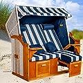 Strandkorb Ostsee BWH XXL, Bezug blau-weiß gestreift fertig montiert, LILIMO ®