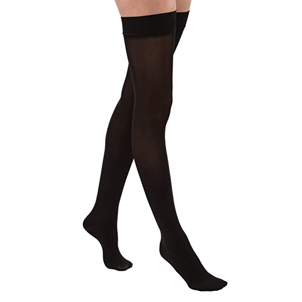 JOBST Relief Thigh High 15-20 mmHg Compression Stockings, Closed Toe with Silicone Dot Band, Small, Black (Color: Black, Tamaño: Small)