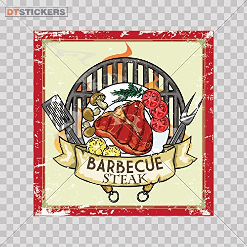 Decoration Vinyl Stickers Vinyl Bbq Food Drink Store D Decoration vinyl furniture lunch dining take (6 X 5,83 Inches) Fully Waterproof Printed vinyl sticker
