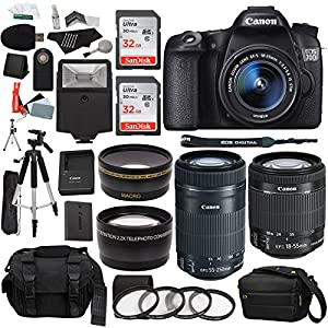 Canon EOS 70D 20.2 MP Digital SLR Camera with Dual Pixel CMOS AF Full HD 1080p Video and EF-S 18-55mm f/3.5-5.6 IS STM Lens with Canon EF-S 55-250mm f/4-5.6 IS Image Stabilizer Telephoto Zoom Lens + .43x High Definition Wide Angle Lens With Macro Attachment + 2.2X High Definition Telephoto Lens Travel Kit + 64 GB Storage + Tripod + Premium Pro Accessories Kit