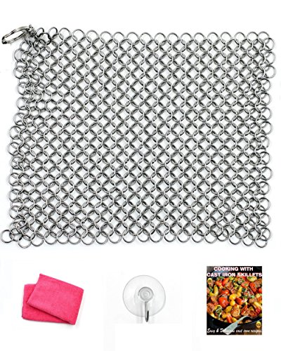 Campfire Cooking Equipment For Cast Iron Cookware Clean-Up - Premium Kitchen Cast Iron Cleaner Chainmail Scrubber Xl 8x6 Inch Stainless Steel Heavy Duty Cleaner Dutch Oven, Cast Iron Skillet Cookware Natural Handcrafted Free Bonus Ebook & Dry Cloth & Hook