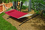 Hammock Double Wide Outdoor Quilted Cotton Fabric Beach Hammocks Swing Bed Back Yard with Pillow New Red