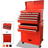 Rolling Tool Box 2 in 1 Versatile Tool Chest with 8 Drawers and 4 Wheels, Lockable Tool Cabinet Sturdy Tool Storage Box for Garage and Workshop,Red (Color: Red)