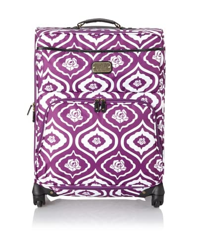 """Isabella Fiore Women's Dusty Rose 24"""" Upright Spinner Suitcase, Purple/White"""