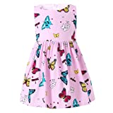 SMILING PINKER Little Girls Dress Butterfly Swing Party Summer Cotton Dresses for Baby Toddler (Pink, 3-4t) (Color: Pink, Tamaño: 3T / 4T)