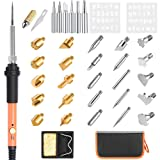 Wood Burning Kit Tools 39Pcs with Pyrography Pen Set Woodburning Adjustable Temperature 60W with Carry Bag, BricoPlus Different Tips for Leather/Embossing,Support,Cleaner,Sponge,Stencils [New-Version]