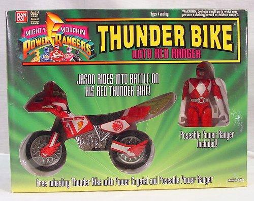Mighty Morphin Power Rangers THUNDER BIKE w/ Jason Red Ranger Action Figure (1994 Bandai) (Power Ranger Barbie compare prices)