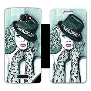 Skintice Designer Flip Cover with a hi-res printed Vinyl Wrap-around for Micromax A121 , Design - Chicago Girl