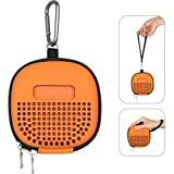 RISETECH Case for Bose Micro Bluetooth Speaker with Portable Metal Hook and Strap, Travel Carrying Case for Bose SoundLink Micro for Secure Outdoor Protection - Orange (Color: Orange)