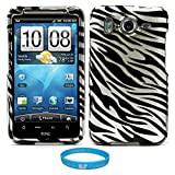 Black and White Zebra Design 2 Piece Protective Rubberized Crystal Hard Case for AT&T Wireless HTC Inspire 4G Android Smartphone + INCLUDES!!! SumacLife TM Wisdom Courage Wristband