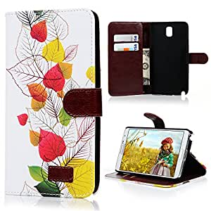 Mavis's Diary for Samsung Leather Series Fashion style Flower Wallet Type Magnet Design Cover Case with Soft Clean Cloth (Samsung Galaxy Note 3 SM-N9000, Pattern-A)