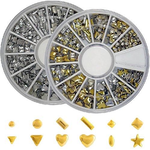 メタルスタッズ12種類 ネイル用 ゴールド&シルバー ラウンドケース入2個 セット