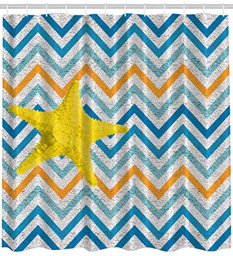 Chevron Curtains Sea Star Zig Zag Colorful Ocean Waves
